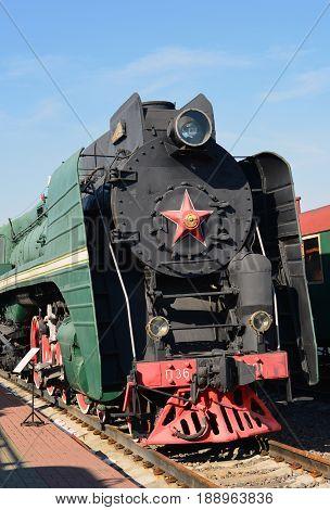 Moscow Russia - April 1.2017. Steam locomotive of Sormovskiy amplified series