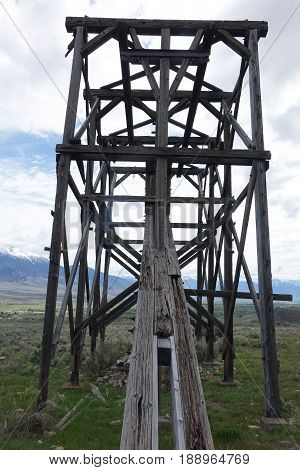 White Knob Mine tram towers which were used to move ore down the mountain near Mackay, Idaho.