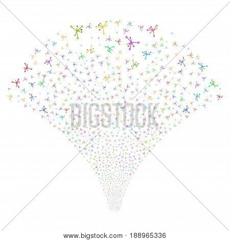 Big Bang salute stream. Vector illustration style is flat bright multicolored iconic symbols on a white background. Object source fountain done from random pictograms.