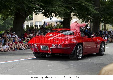 Bristol Rhode Island USA - July 4 2011: VIP in customized Corvette at Fourth of July parade in Bristol Rhode Island