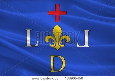 Flag of Digne-les-Bains is a commune of France capital of the Alpes-de-Haute-Provence department and situated in the region of Provence-Alpes-Cote d'Azur. 3d illustration
