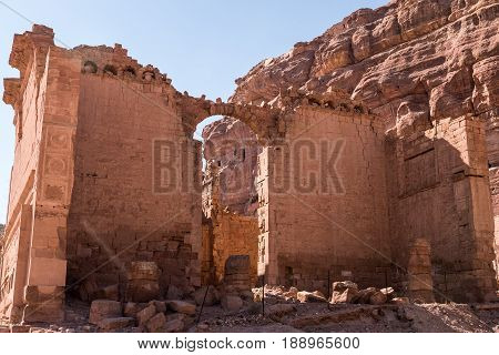 The main Nabataean temple, also known as Qasr al-Bint, at the end of the Colonnaded Street at Petra in Jordan. It is the only remaining free standing building in the ruins.