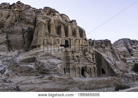 The Obelisk Tomb carved into the sandstone at Petra in Jordan.