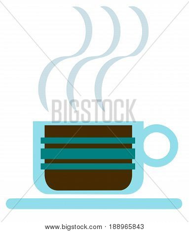graphic design of an art deco style glass cup of steaming hot coffee
