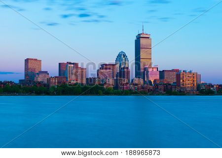 Boston - June 2016, MA, USA: Cityscape at sunset. Prudential Tower and surrounding buildings in Boston Back Bay. Urban panorama in the evening