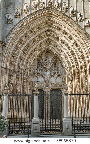 Portal of Cathedral of Saint Mary of Toledo Spain