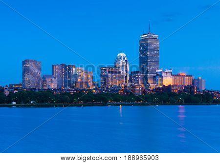 Boston skyline at night. Illuminated buildings in Back Bay. Massachusetts, USA