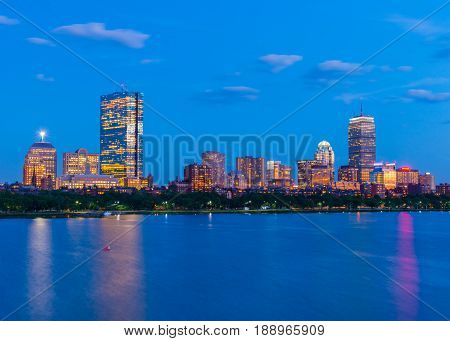Boston skyline at the evening. Skyscrapers and office buildings in Back Bay. Massachusetts, USA