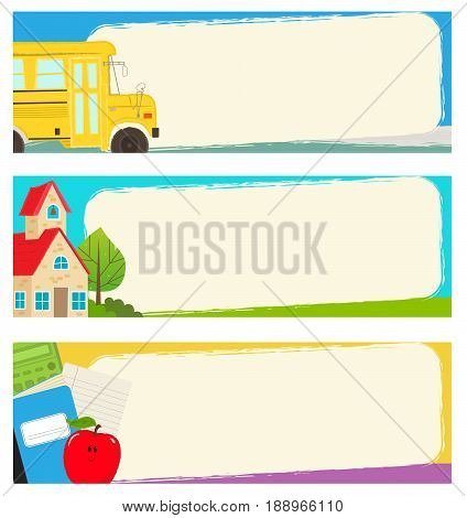 Three blank banners with school bus, schoolhouse, and school supplies. Eps10