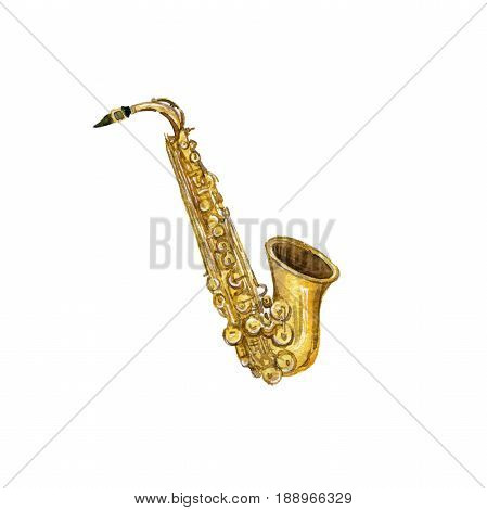 watercolor drawing saxophone, isolated musical instrument at white background, hand drawn illustration