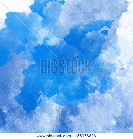 Blue vector watercolor splash texture background isolated. Hand-drawn drop and blob, spot. Watercolor effects. Color grunge stain abstract background. Trace aquarelle on white.