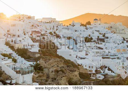 Sunrise in beautiful Oia town in Santorini
