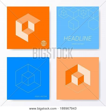 Minimalist blue and orange modern card cover designs