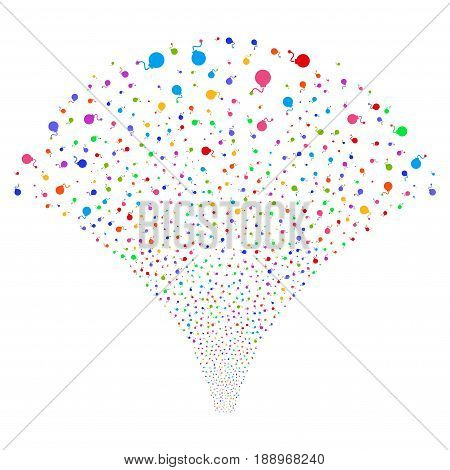 Bomb salute stream. Vector illustration style is flat bright multicolored iconic symbols on a white background. Object stream fountain combined from random design elements.