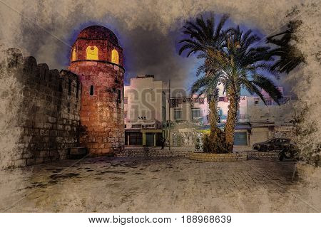 Night photo of Mosque in Sousse. Medieval architecture in night lights. Vivid picture of ancient religious building - one of the main attractions in Sousse, Tunisia.