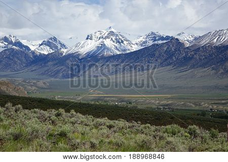 The Lost River Mountain Range provide a beautiful background for the town of Mackay, Idaho.