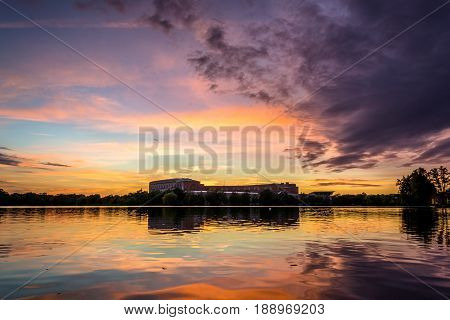 Upcoming storm over lake in Nuremberg during sunset