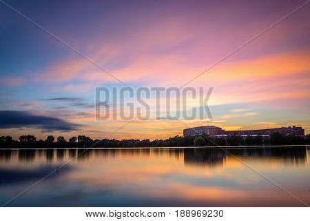 Sunset over lake in Nuremberg in Germany