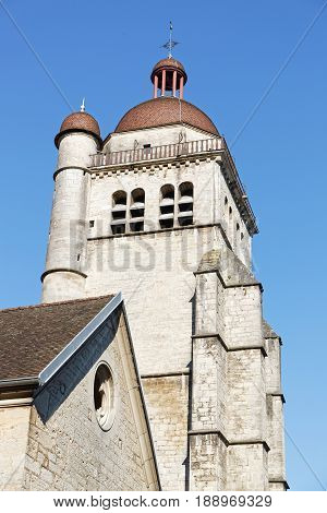 Bell Tower Of The Church Of Poligny, In Jura Region, France