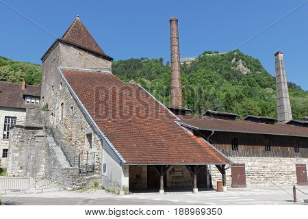 Saltworks buildings in Salins-Les-Bains in Jura region