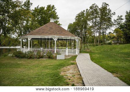 Wooden gazebo in a Park in Bucksport Maine USA