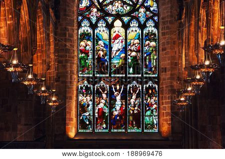 EDINBURGH, SCOTLAND - SEPTEMBER 18, 2014: Interiors of St Giles Cathedral - the most important place of worship in the country. High Kirk of Edinburgh is dedicated to patron saint of the city