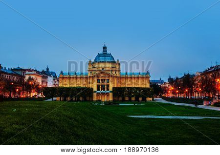 Zagreb, Croatia. Art Pavilion building in Zagreb, Croatia in the morning, dark blue sky in autumn