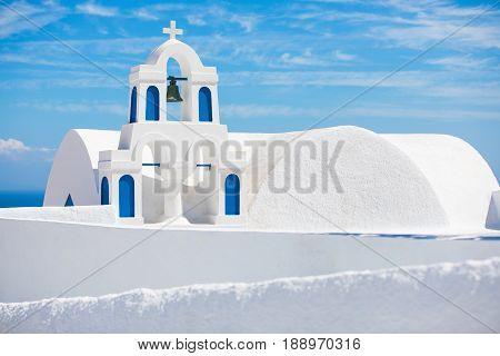 Traditional Greek Church in Oia Town in Santorini