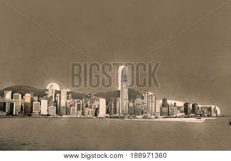 Skyscrapers of Hong Kong in China, Asia. Beautiful travel picture of urban China. Modern painting style texture. Travel illustration.
