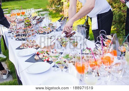 Outside of the food and drink catering for guests of the event