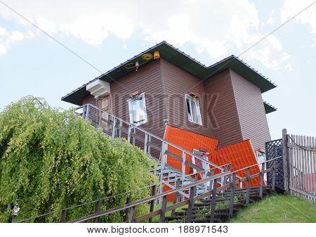 Rostov-on-Don Russia - May 272017:The house turned upside down by the foundation in the shopping center