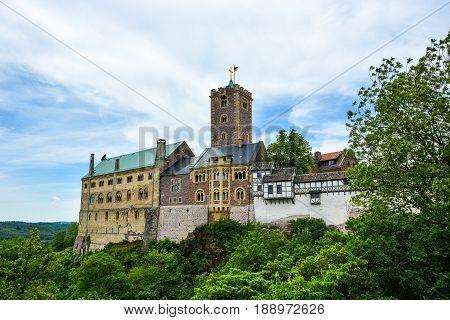 Wartburg on a hill near Eisenach Germany