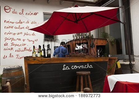 ISLA NEGRA-NOVEMBER 16, 2014: Bar in Neruda's house nowadays is a museum on Isla Negra, Chile on November 16, 2014