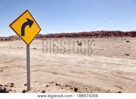 Road between hills in the Atacama desert in Chile