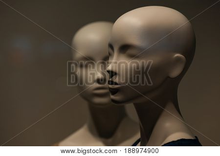 Female Dummy With No Hair And Makeup On Shopping Display