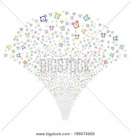 Buzzer salute stream. Vector illustration style is flat bright multicolored iconic symbols on a white background. Object stream fountain made from random pictograms.
