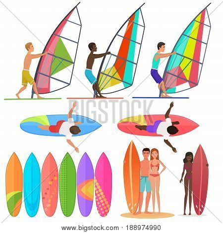 Surfer people collection. Surfboards, top and front views of riding on the waves. Surfing couple Vector illustration