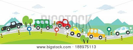 Children vector illustration of small funny cars, going near the mountains. Horizontal seamless background or pattern.