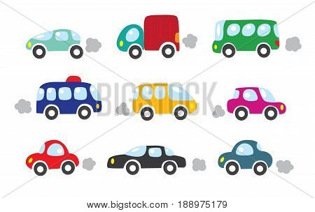 Set of small funny vector color cars, van, lorry, bus. Children vector illustration