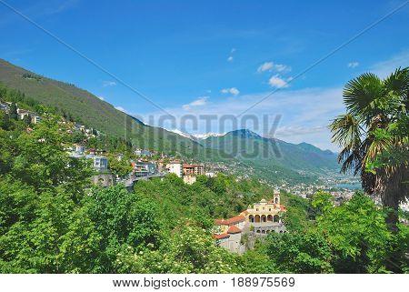 Village of Locarno with Madonna del Sasso Church,Lake Maggiore,Ticino Canton,Switzerland
