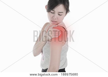 Young woman with shoulder pain isolated white background.