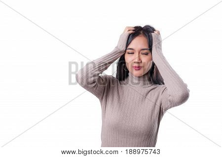 Young attractive tan skin Asian woman with casual cloths is showing a gesture of negative feeling by holding head with hands. Person gesture concept