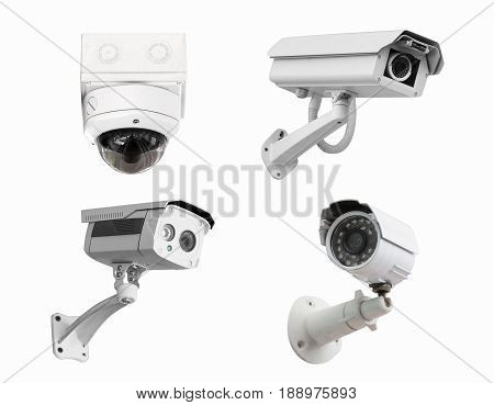 CCTV security camera isolated white background. with clipping path