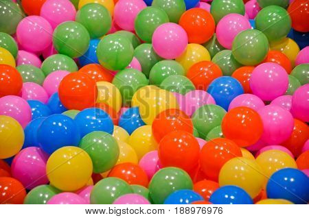 Colorful playground in kiddie zone with balls