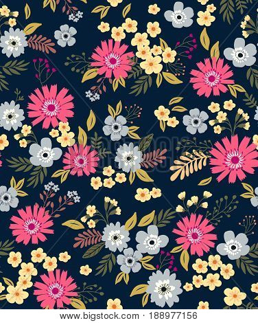 Seamless Pattern With Flowers For Design. Small Colorful Multicolor  Flowers. Dark Blue Background.