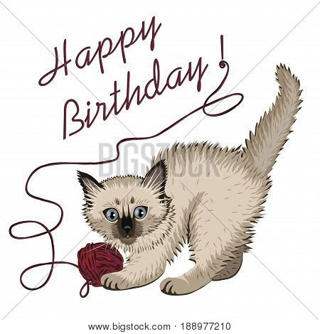 Kitten plaing with ball of wool and happy birthday