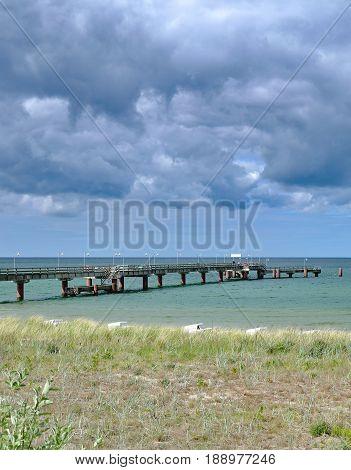 Pier and Beach of Goehren on Ruegen at baltic Sea,Mecklenburg western Pomerania,Germany