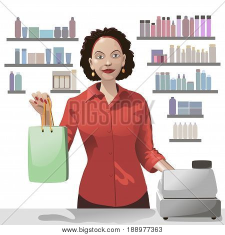 Smiling girl sales clerk holding a shopping bag and offers products over background of showcase.