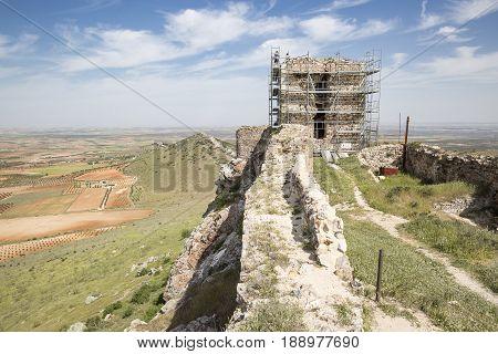 works in the Penhas Negras castle in Mora, Toledo province, Castilla La Mancha, Spain