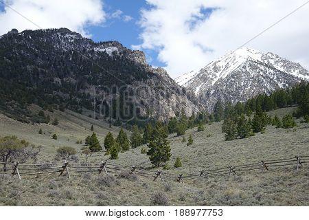 Lost River Mountains at the trailhead to climb Mt. Borah, Idaho's tallest peak.